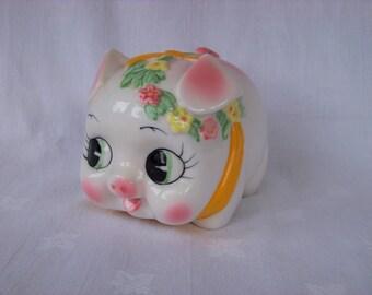 Vintage Piggy Bank with Floral Garland