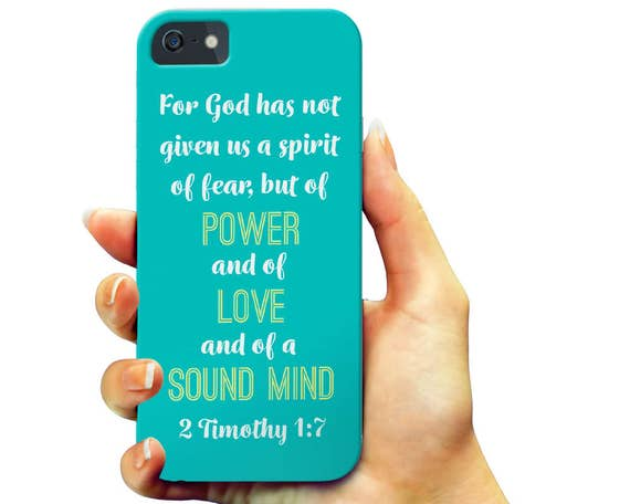Christian iPhone 7 Plus Case, Slim iPhone 6s Case, 2 Timothy 1:7 Phone Case, Religious Quote Galaxy Note Case, Bible Galaxy S6 Case