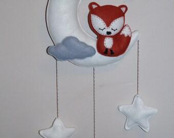 Sleepy woodland baby fox nursery mobile felt wall decor,shower gift