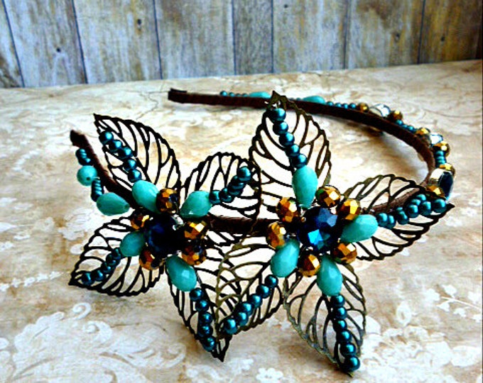 Baroque headband everyday Blue turquoise Brown gold headdress dolce crown high fashion headpiece wedding DG Flower tiara luxury gift her