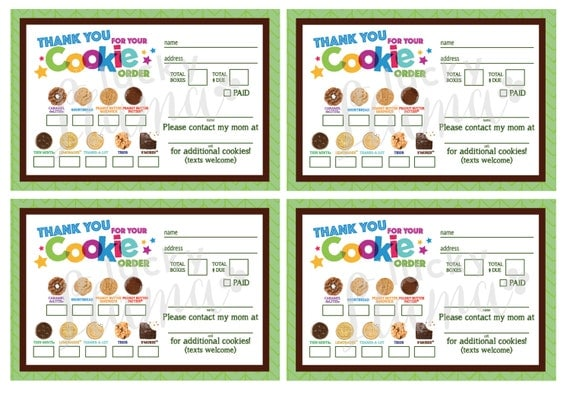 Girl Scout Cookie Thank You Order Form Receipt Printable