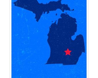 Lansing, Michigan - Capital City Map Art Poster