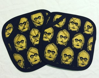 Black and Gold C3PO Star Wars Pot Holders - set of two