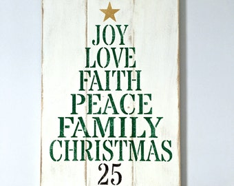 """Free Shipping!  Christmas Word Tree Sign (White, Green, Gold and Brown- Rustic, Country, Pallet and Reclaimed Wood Decor - 12.75"""" by 20"""""""