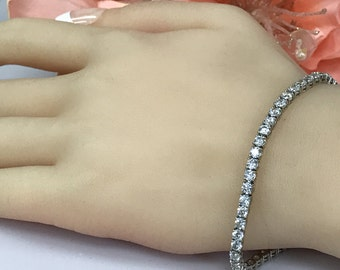 6.00 tw Carat Round Brilliant Cut  Simulated Diamonds in Solid 14K White Gold Tennis Bracelet #4545