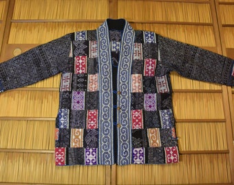 Ethnic  Women Cotton Double Side Jacket Shawl Collar Size L / XL