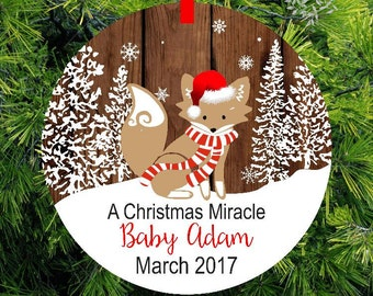 A Baby Christmas Miracle - Expecting Ornament - Woodland fox Expecting Christmas Ornament - ORM5-R-1 - lovebirdschristmas