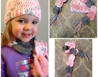 Intertwined Scarf & Hat, Multicolored Scarf, Multicolored Hat, Girl, Baby, Adult,  set or separate