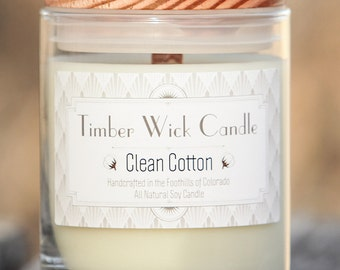 Clean Cotton | 9-Ounce Soy Candle with Cedar Wick