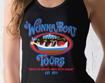 New Chocolate Factory Boat Tours Ladies Tank Top Movie Logo T-Shirt Funny Retro Movie Adult Women Tanks Shirt Sizes