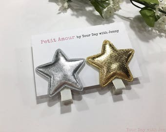 Gold and Silver Star Hair Clips, Set of 2, Toddler Hair Clips, baby hair clips, Hair bows, Girls hair clip set, Alligator Clips