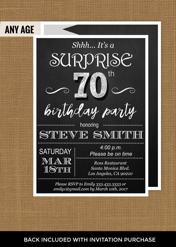 70Th Birthday Party Invitations gangcraftnet – Shhh Surprise Party Invitations