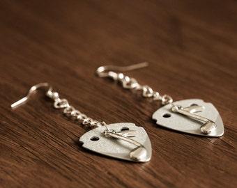 Guitar Pick Earrings (Silver)