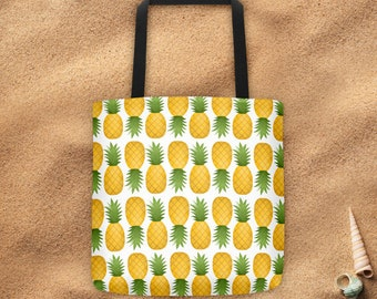 Pineapple Patten - Tote Bag - Fun Food Patterns Pineapples Yellow Green Beach Bags Totes Summer Fruit Pool Swim Tropical Fruits Sweet Foods