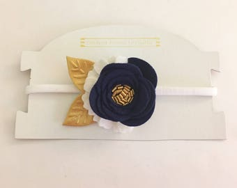 Navy Felt Flower Headband, Navy Wool Felt Flower, Navy Blue Gold White Flower Photo Prop Headband, Newborn Photoshoot Headband Nylon One Siz
