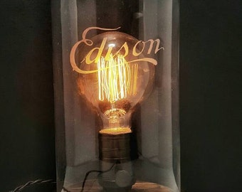 Edison commemorative lamp with vintage style bulb, solid brass socket, silk wiring and etch EDISON glass dome