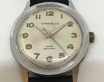 Attractive 1960's Caravelle Military Style Watch with Patinaed Lume Numerals