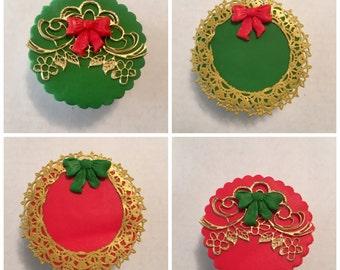 12  Fondant Christmas Cupcake Topper, Edible Lace (FREE SHIPPING)