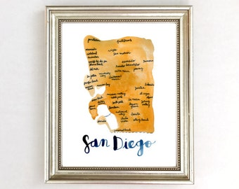 san diego map art print map of san diego san diego wall art - San Diego Home Decor