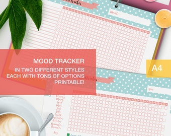 Mood tracker printable - a4 planner inserts - bullet journal page - medication tracker v4
