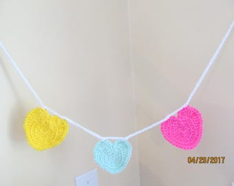 Crocheted Heart Garland - Mother's Day