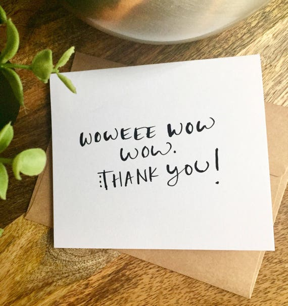 Handwritten Thank You Note Card, Wow thanks, Hand Lettered Thank You Card Set, Thank You Note Card Set, Script Thank You Cards