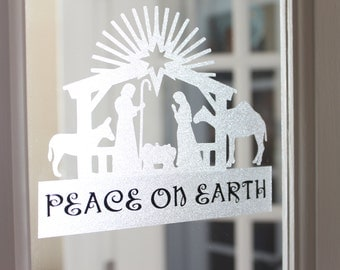 Nativity Christmas Decal, Personalized Reusable Static Cling Decal, Static Cling Window & Mirror Decal, Christmas Decoration Decal