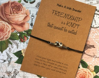 Make A Wish Bracelet / Charm Bracelet - Friendship Is A Knot That Cannot Be Untied