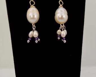 Pearl & Tanzanite Swarovski Earrings in Sterling Silver