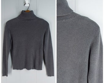 Vintage Womens 1990s Gap Gray Ribbed Pullover Turtleneck | Size S/M