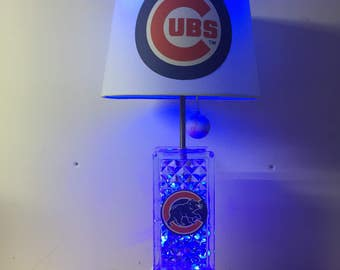 Chicago Cubs, MLB, Baseball Lamp, Cubs lamp, glass block, man cave, kids night light, sports light, Cubs