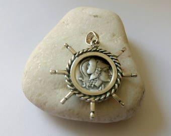 Silver pendant coin, Goddess Athena, Owl,Wisdom and philosophy