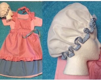 Little House on the Prairie Apron,skirt,mop cap and shirt/Prairie costume/ size 14/16/Laura Ingalls Wilder/wax museums and book reports