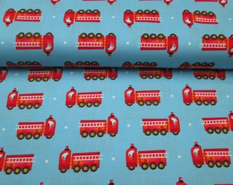 Firefighter cotton fabrics, cotton fabric blue background with fire truck