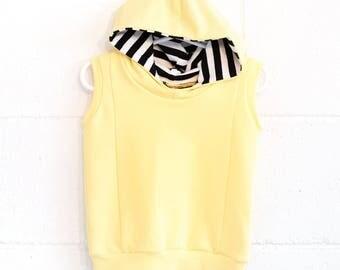 sleeveless hoodie, baby hoodie, soft yellow baby hoodie, yellow baby hoodie, unisex sleeveless hoodie, bright yellow hoodie