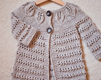 Knitting Pattern (pdf file) Instant Download - Leaves Cardigan (sizes up to 12 years)