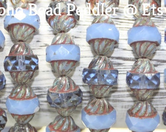 Czech Glass Beads, Turbine Beads, 11x10mm, 15 Beads