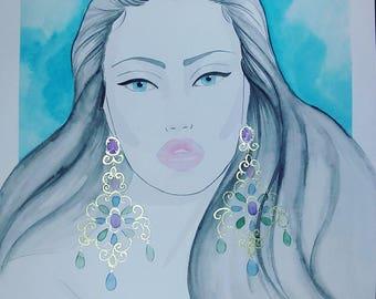 Turquoise Love - Original Watercolor