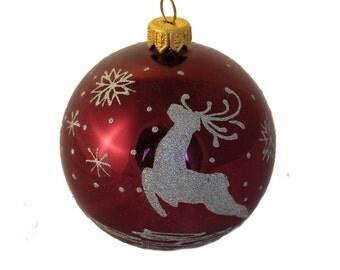 Deer and Snowflakes, Glass Christmas Ball, Glass Christmas Ornaments, Christmas Decorations, Hand-painted Christmas Ornaments