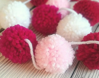 Red White Fuchsia and Pink Pompom Garland, Pompom Garland, Valentine's Day, Valentines Day Garland, Photo Prop, Party Decor, Nursery Decor
