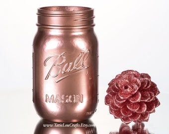 Rose Gold Mason Jar, Wedding Centerpiece,Bridal Shower Centerpieces,Rose Gold Centerpieces,Home Decor,Gold Centerpieces,Gold Mason Jar.