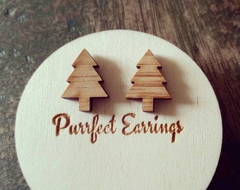 CHRISTMAS trees - laser cut wooden earrings