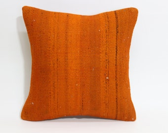 Orange Overdyed Kilim Pillow Throw Pillow 16x16 Decorative Kilim Pillow Cushion Cover Vintage Kilim Pillow Bed PillowSP4040 1570