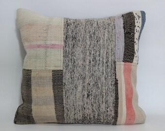 Turkish Patchwork Kilim Pillow Throw Pillow 18x18 Decorative Vintage Kilim Pillow Cotton Pillow Cushion Cover  SP4545-1103