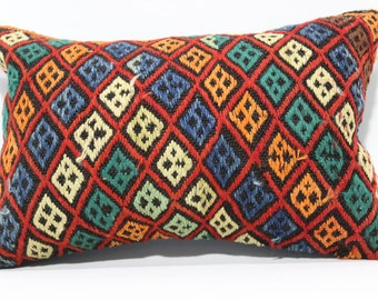 16x24 Anatolian Kilim Pillow Embroidered Kilim Pillow Fllor Pillow 16x24 Decorative Kilim Pillow Ethnic Pillow Cushion Cover SP4060-345