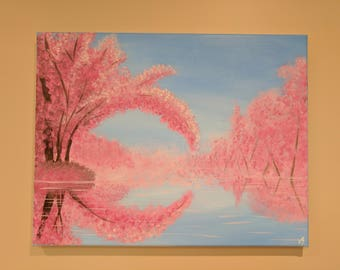 Sakura Cherry Blossom - abstract acrylic painting on canvas