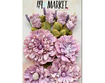 49 and Market Vintage Shades - Orchid Bouquet - Handmade Flowers - Paper Flowers - Scrapbook Embellishment Flowers