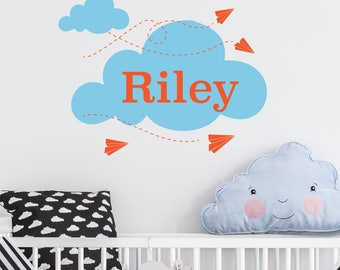 Paper Planes | Custom Personalised Name Initial Animals Cute Nursery Kids Bedroom Playroom Decal | Removable Vinyl Wall Sticker