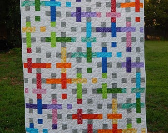 Made to Order, Rainbow Quilt, Lap Quilt, Modern Quilt, Custom Quilt for Sale, Handmade Quilts