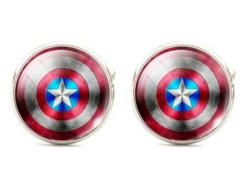 Captain America Cufflinks -B24  - Free Gift Box